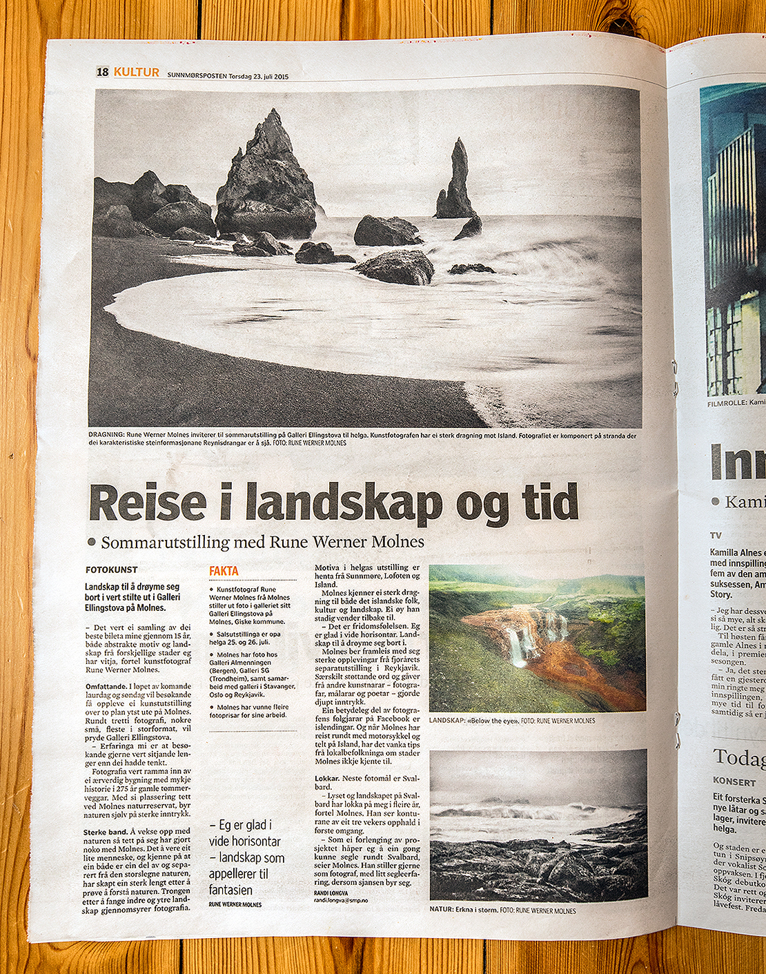 Article about the summer exhibition in Sunnmørsposten, the regional newspaper.